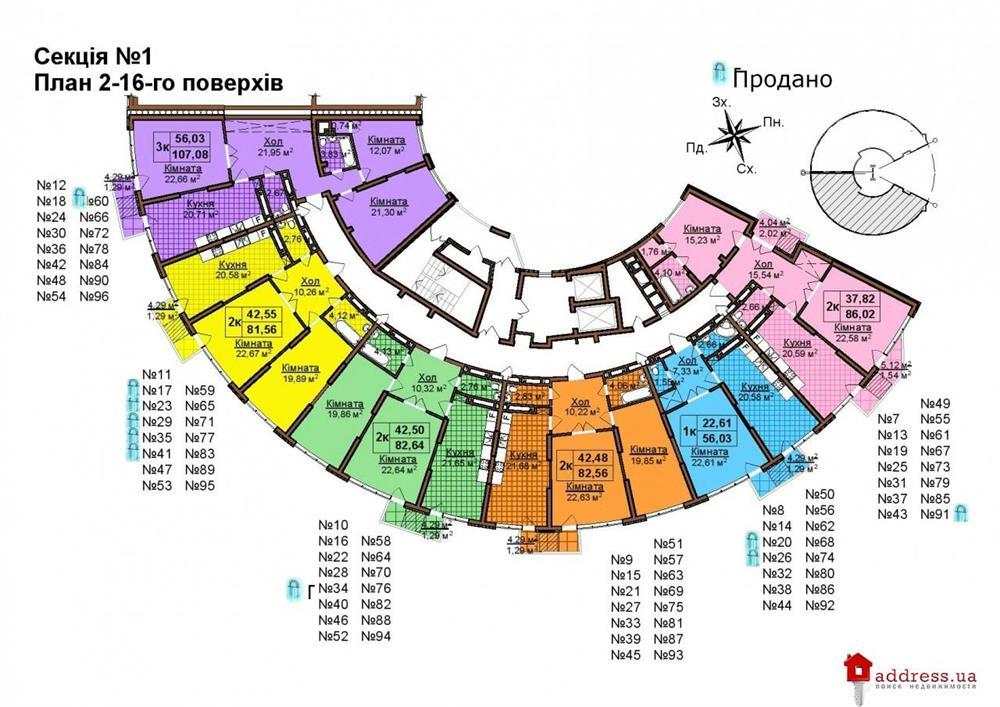 ЖК по ул. Бережанская, 54: Планы этажей секций