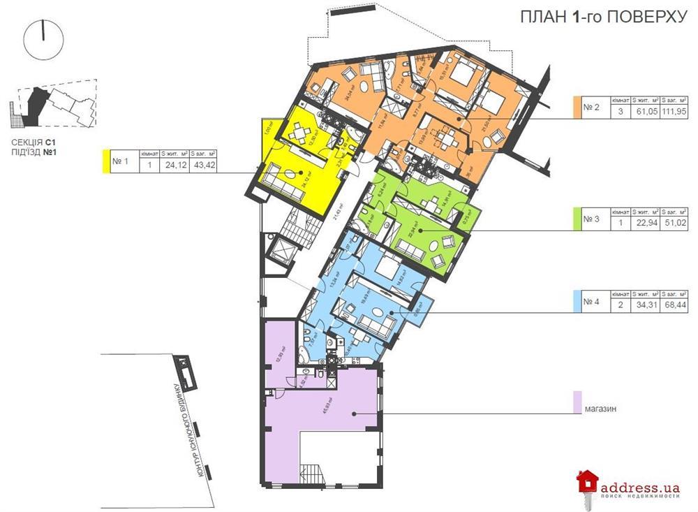 ЖК Manhattan: Планы этажей секций
