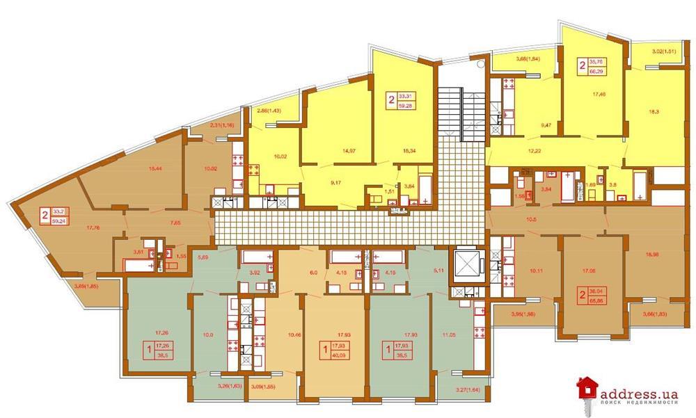 ЖК Моне: Типовые планы этажей