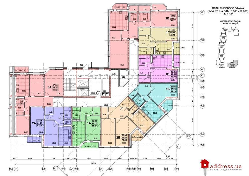 ул. Жаботинского/ул. 1-я Линия: Планы этажей секций