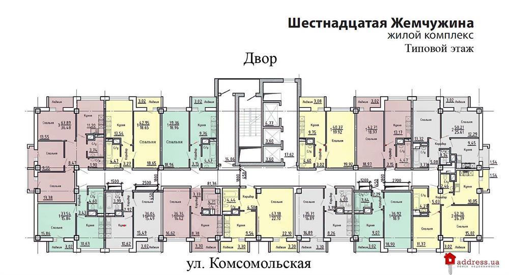 ЖК Шестнадцатая жемчужина: Типовый этаж
