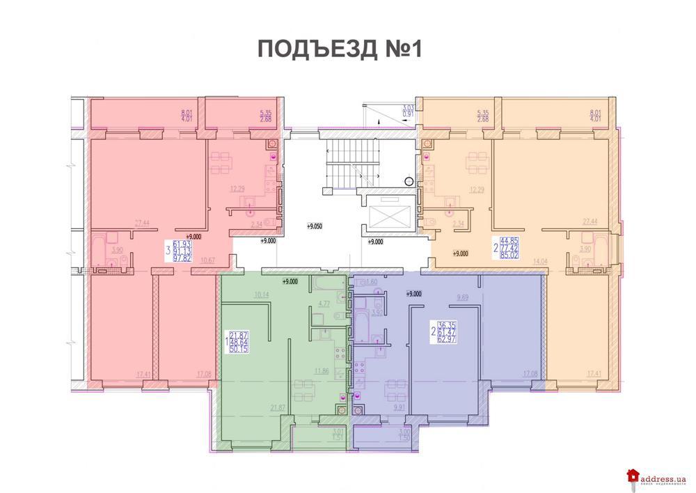 ЖК Алые Паруса: Планы этажей секций