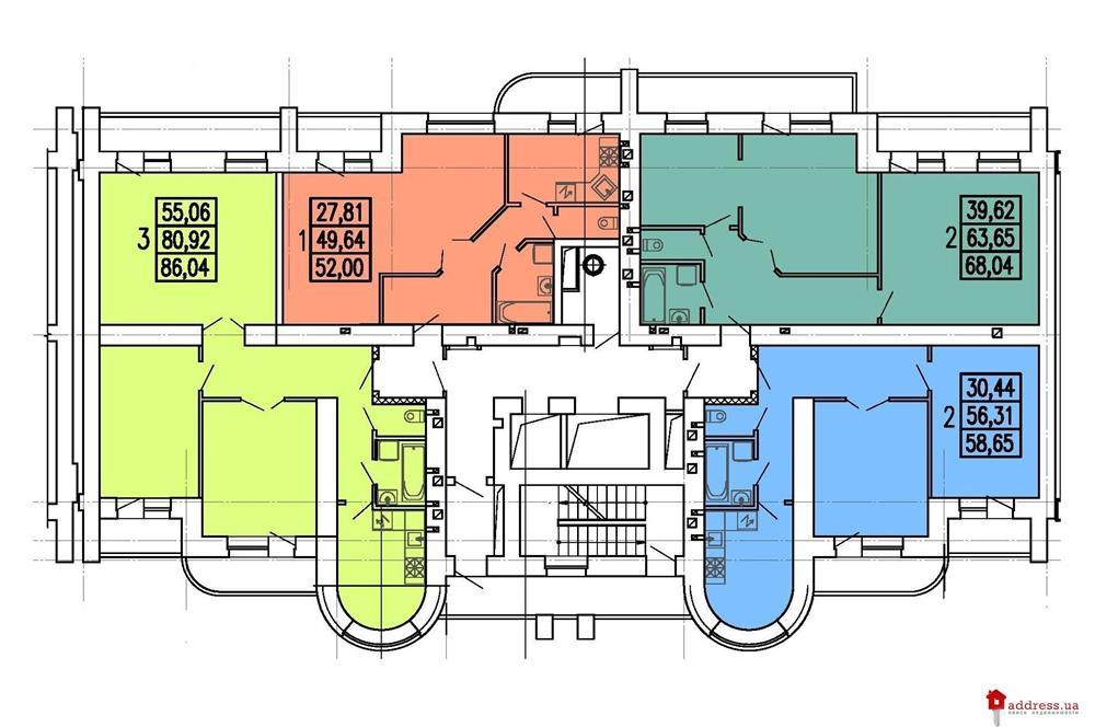 пр. Победы, 59: Планировки этажей секций