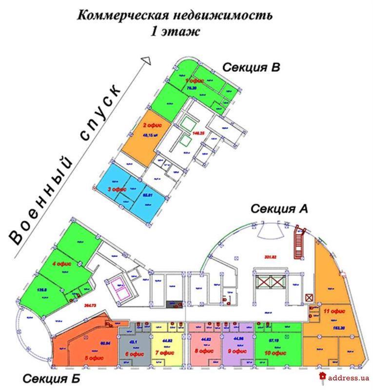ЖК Наследие Дерибаса: Первый этаж (коммерческая недвижимость)