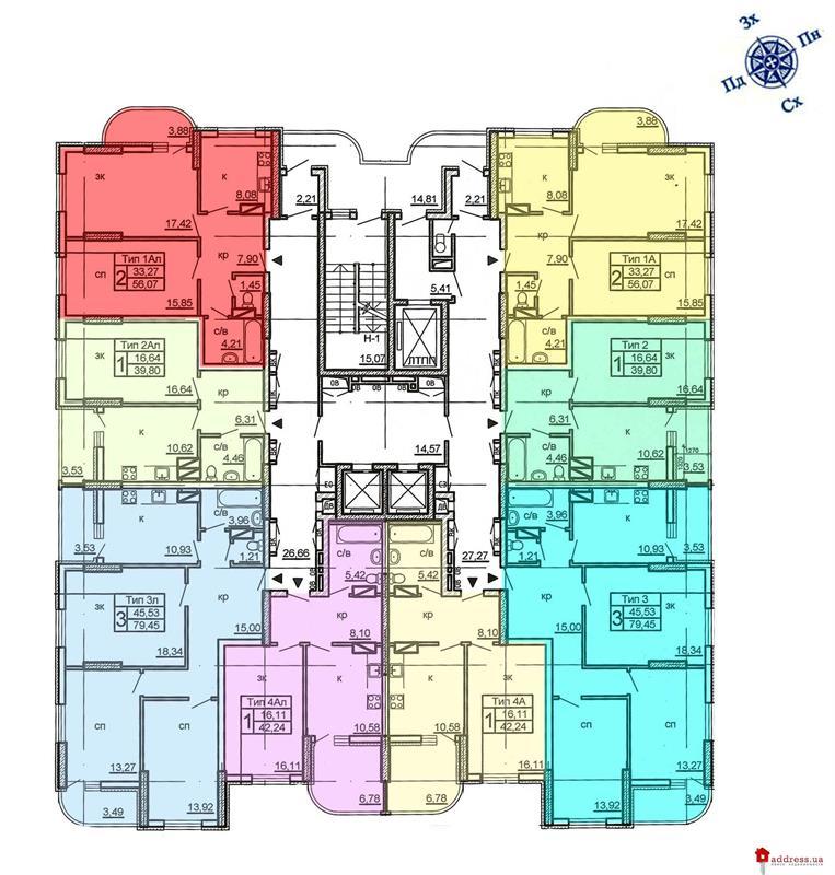 ул. Крушельницкой, 11, 15, 15а, 15б, 15в: Типовый этаж