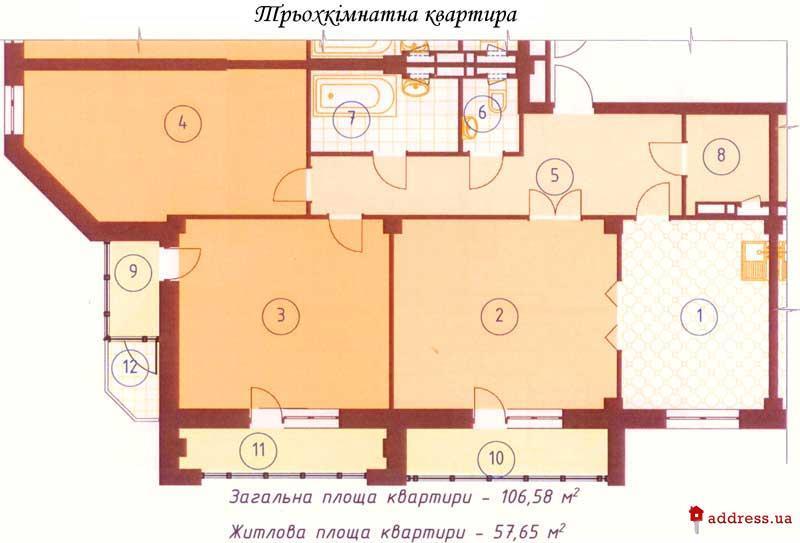 Жилой дом по ул. Фрунзе, 85/87-А: Трехкомнатные