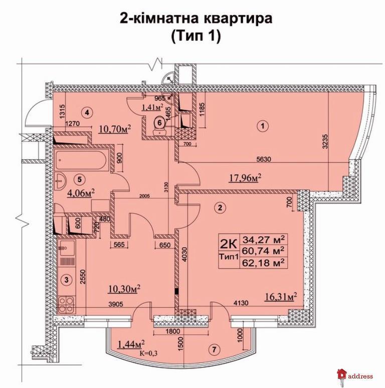 Жилой Комплекс  Новодарницкий: Двухкомнатные