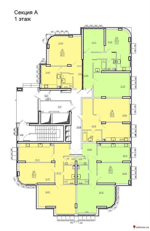 ЖК Люксембург: Планировки этажей. Секция А