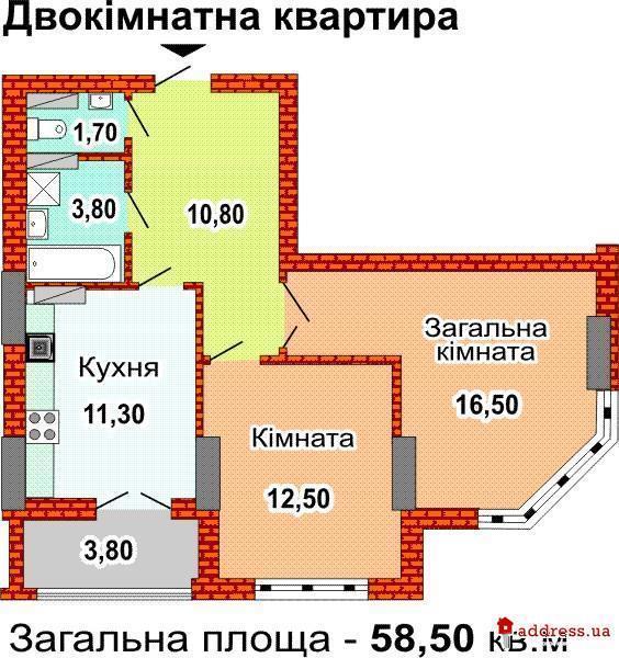 ЖК ул. Феодосийская, 3в (Феодосеевская): Двухкомнатные