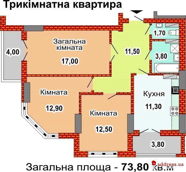 ЖК ул. Феодосийская, 3в (Феодосеевская): Трехкомнатные