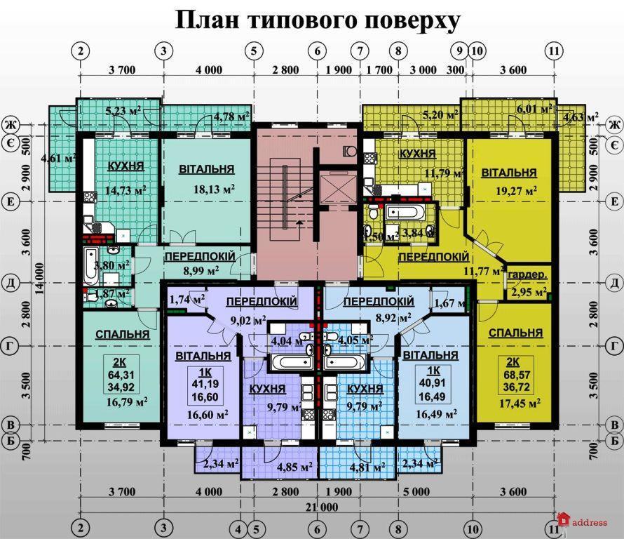 ул. Федьковича: План типового этажа