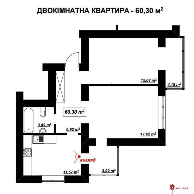 Миколайчука, 6 (ул. Миколайчука / ул. Стуса): Двухкомнатные