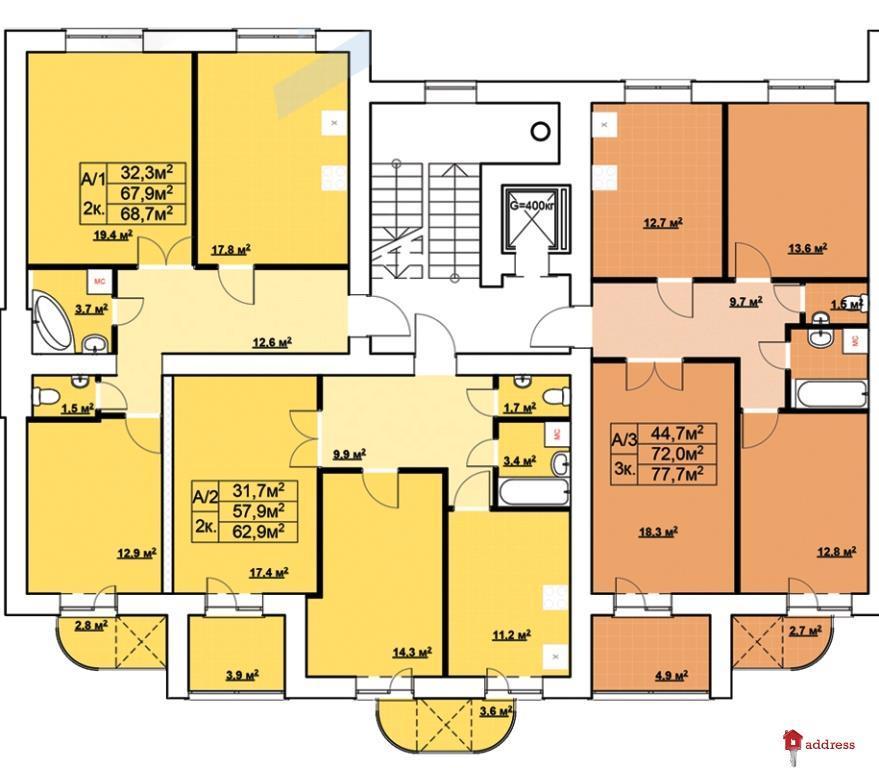 ЖК Авіатор (Авиатор на Довженко): Планировки этажей секций