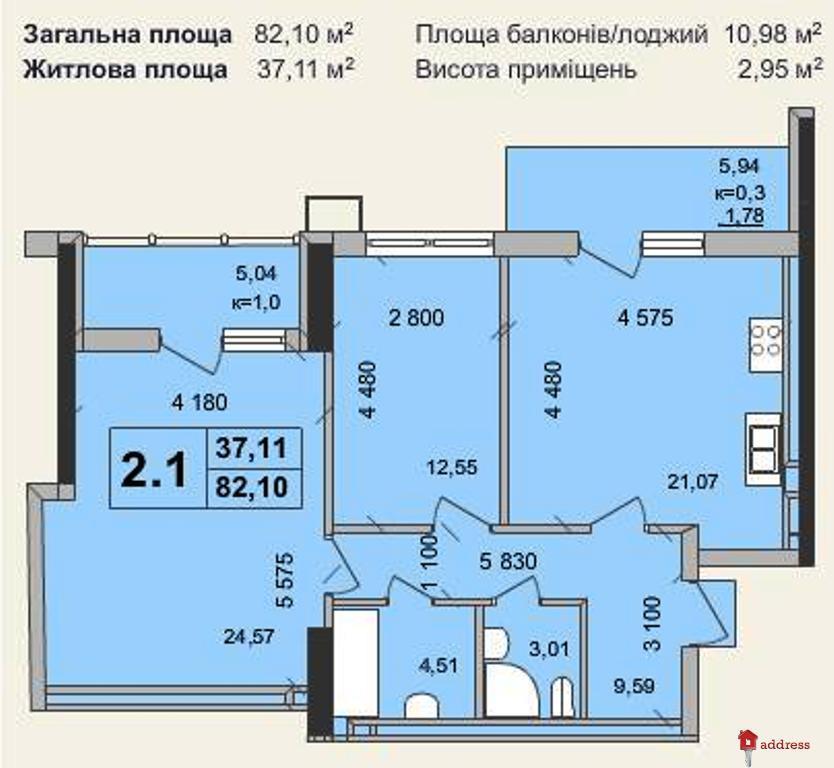 """Клубный дом """"Гоголевская, 47"""" (Гоголівська, 47): Двухкомнатные"""