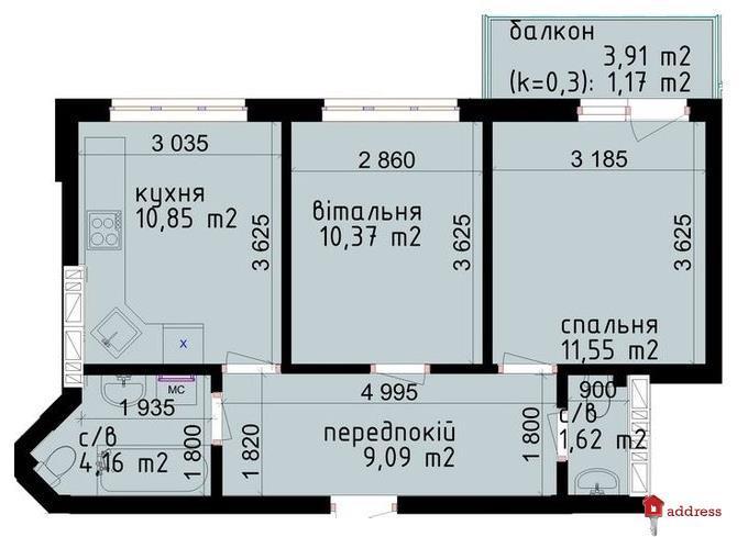 ЖК КРИШТАЛЕВІ ДЖЕРЕЛА: 2-комнатные