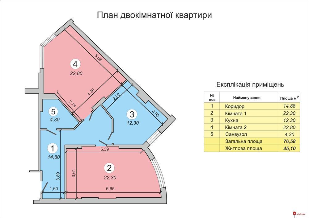 ЖК Васильковский: Двухкомнатные