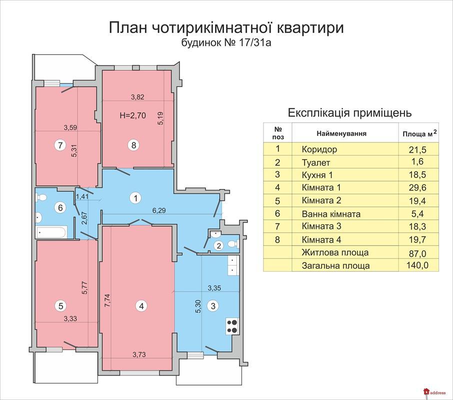 ЖК Васильковский: Четырехкомнатные