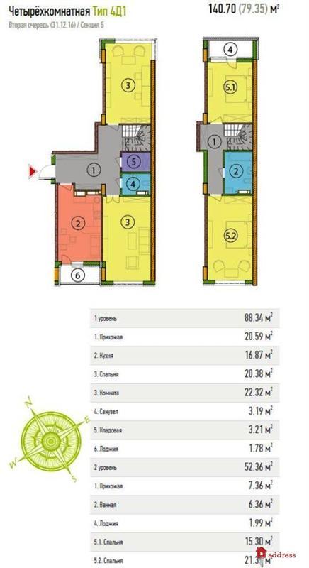 ЖК Soho Residence (2 очередь): Четырехкомнатные