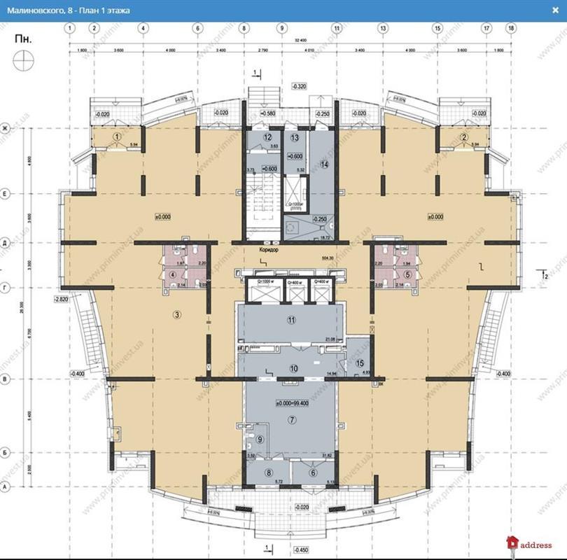 Дом на ул. Малиновского, 8: Планировки этажей