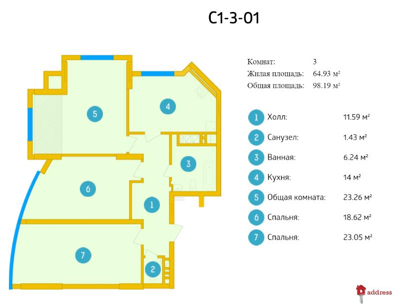 ЖК Smart Plaza: 3 комнатные