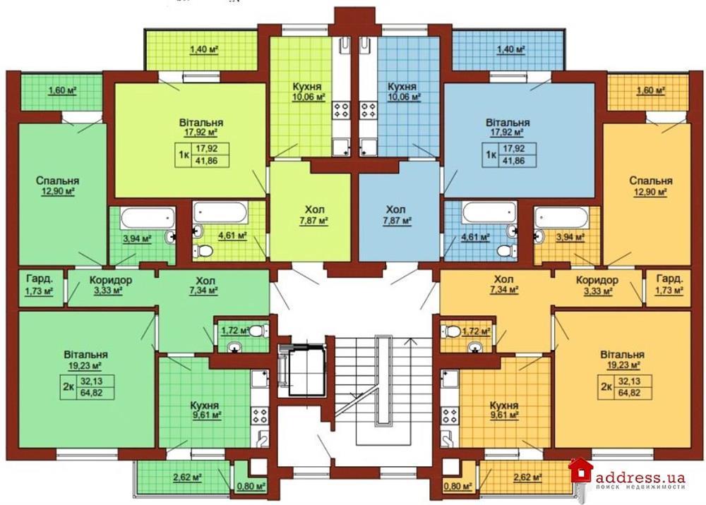 ЖК Княжий: Планы этажей секций