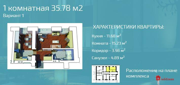 """Клубный дом """"Остромирская, 51"""": Однокомнатные"""