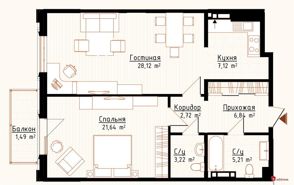 ЖК Новая Англия: 2-комнатные