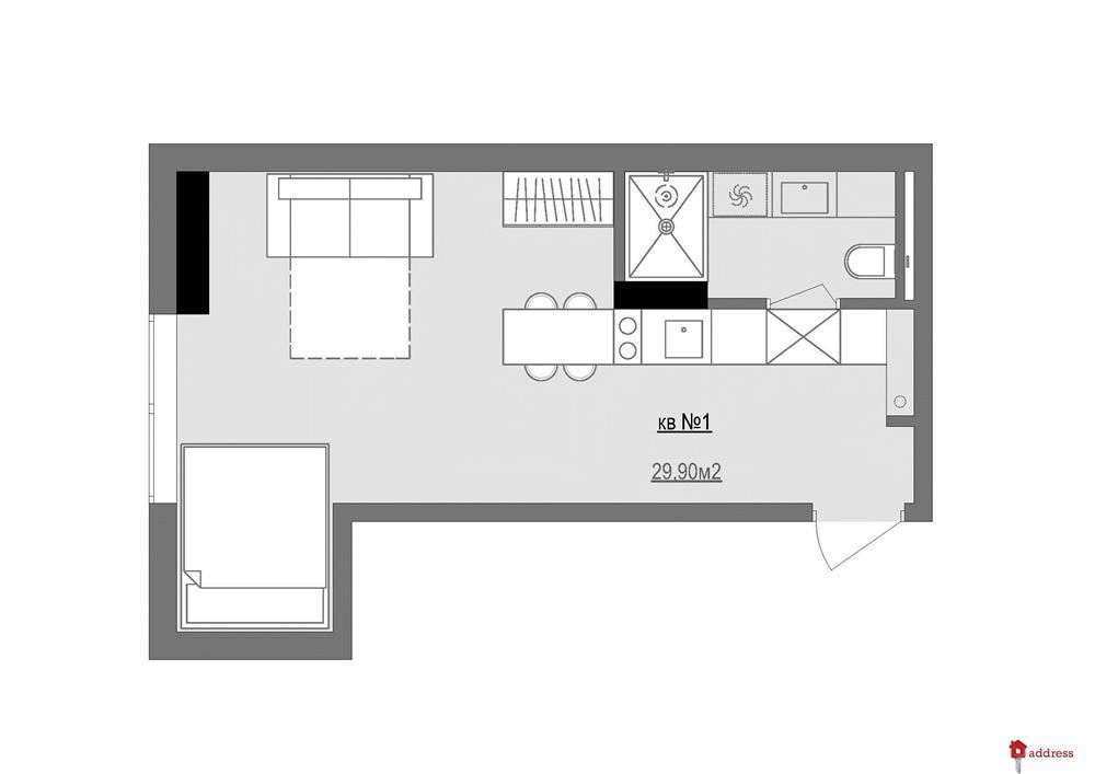Дом по ул. Е.Коновальца, 36Е: Однокомнатные