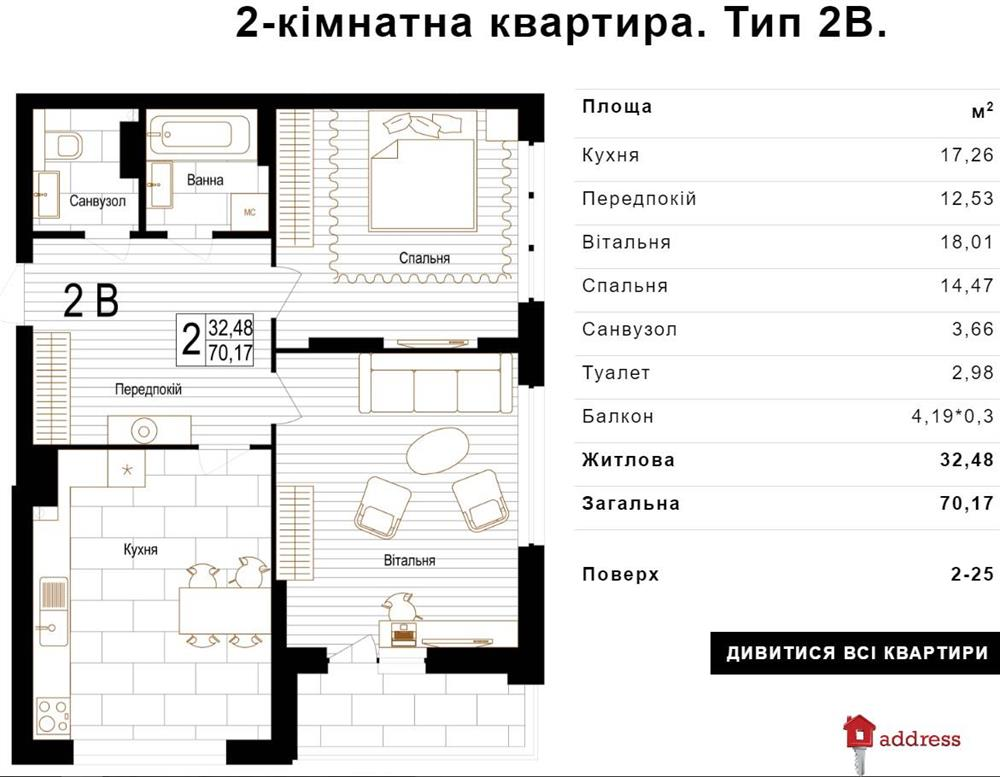 ЖК Bristol Comfort House: 2 комнатные