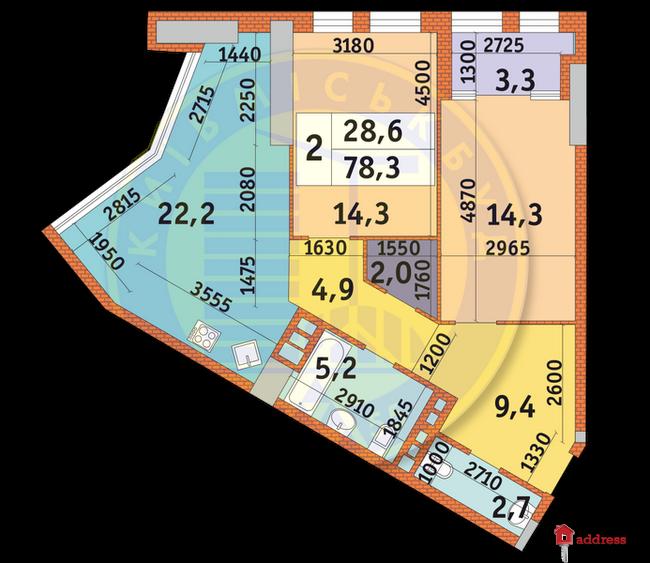 ЖК Manhattan city: Планировки 2-комнатных квартир