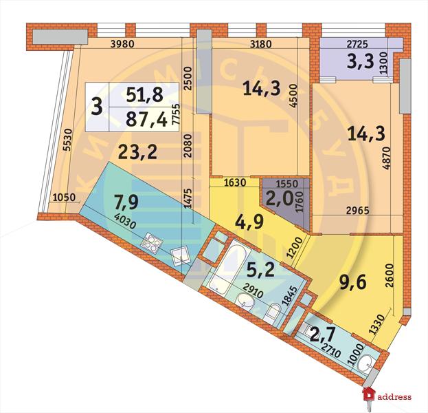 ЖК Manhattan city: Планировки 3-комнатных квартир