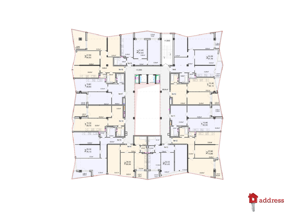 Апарт-комплекс «Costa Fontana»: Планировка этажей