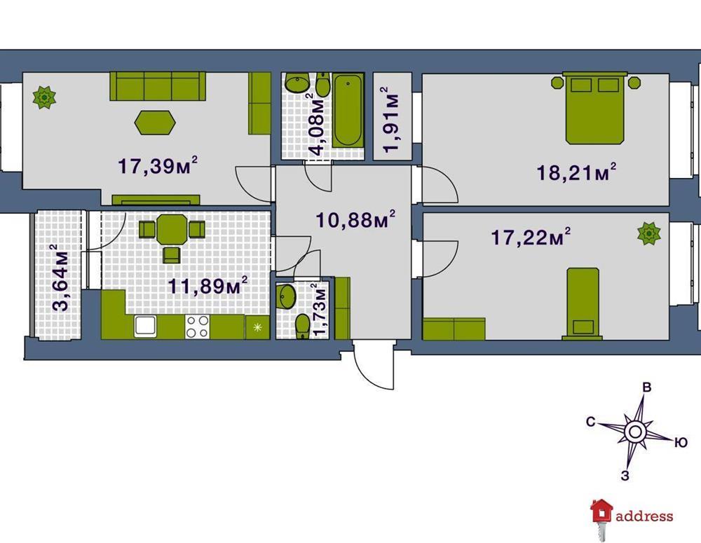 ЖК Центральный: 3 комнатные