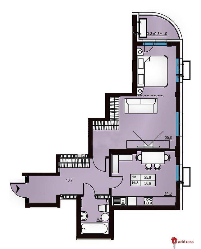 Клубный дом Эдельвейс Феофании: 1-комнатные