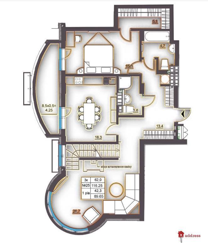 Клубный дом Эдельвейс Феофании: 3-комнатные