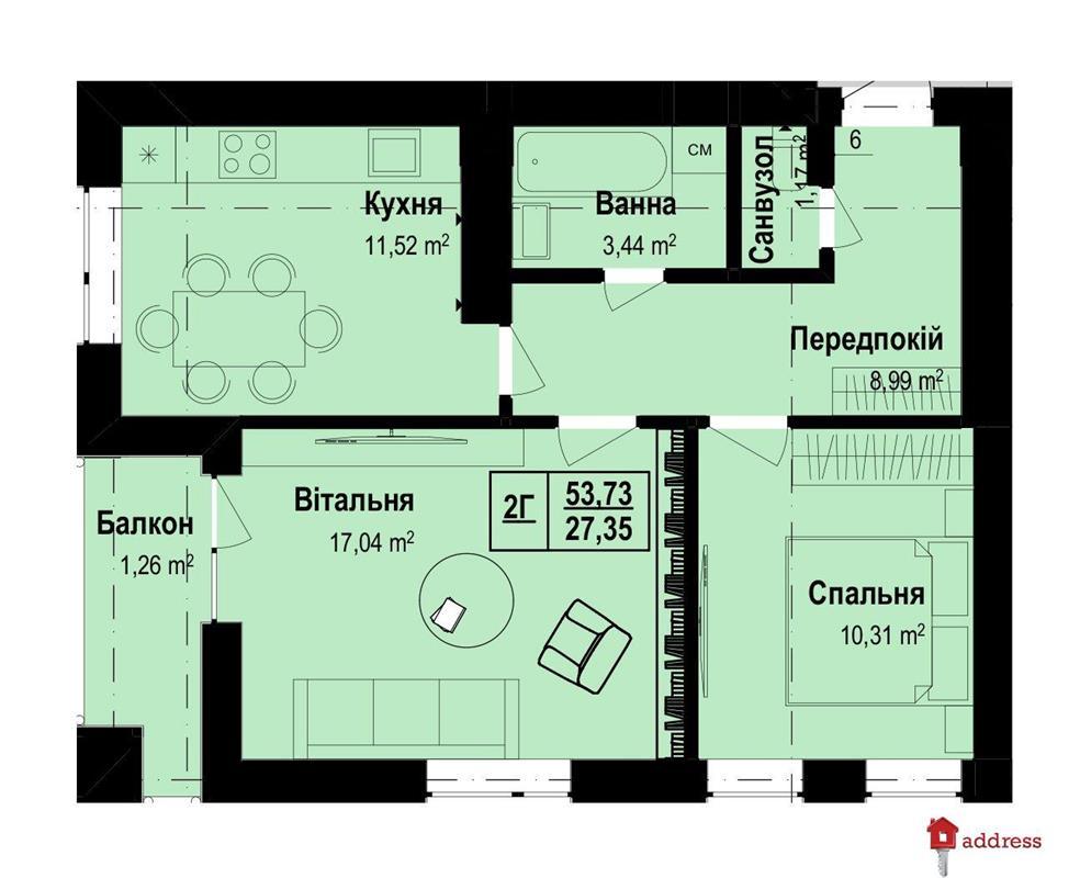 ЖК Vlasna: 2-комнатные