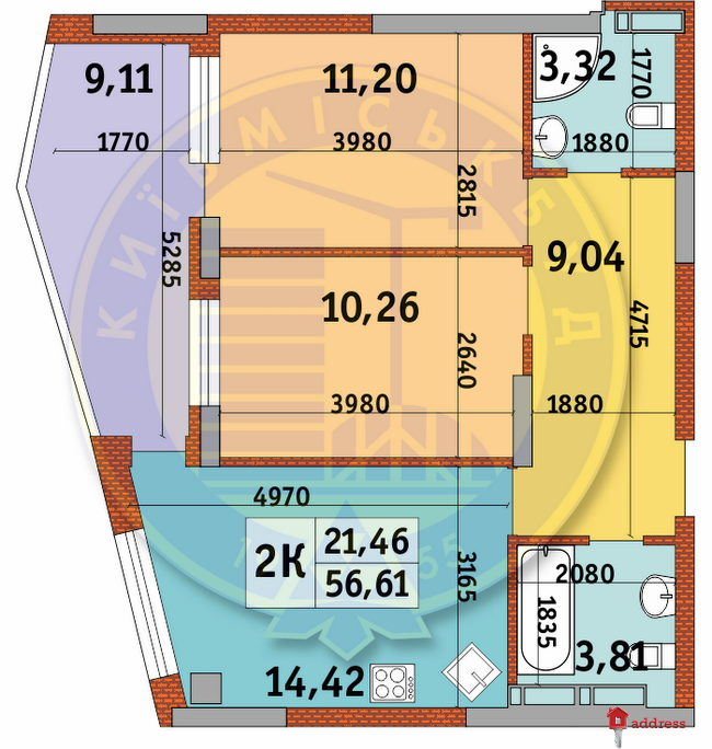 ЖК Итальянский квартал: Планировки 2-комнатных квартир