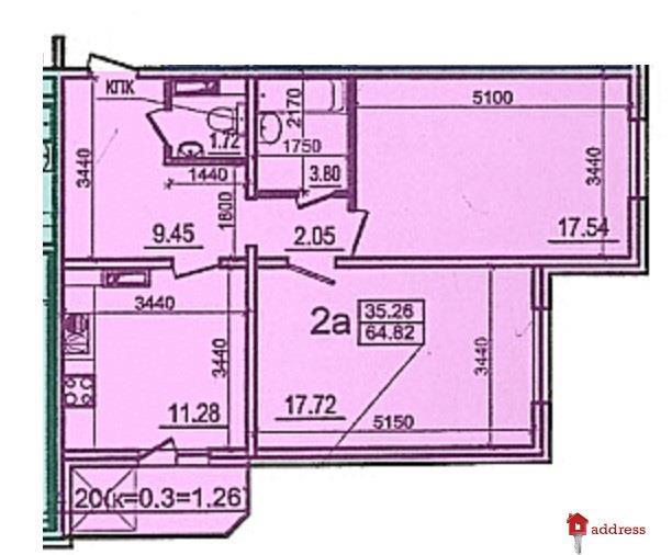 ЖК Моторный 11, дома 1,2,3: 2 комнатная