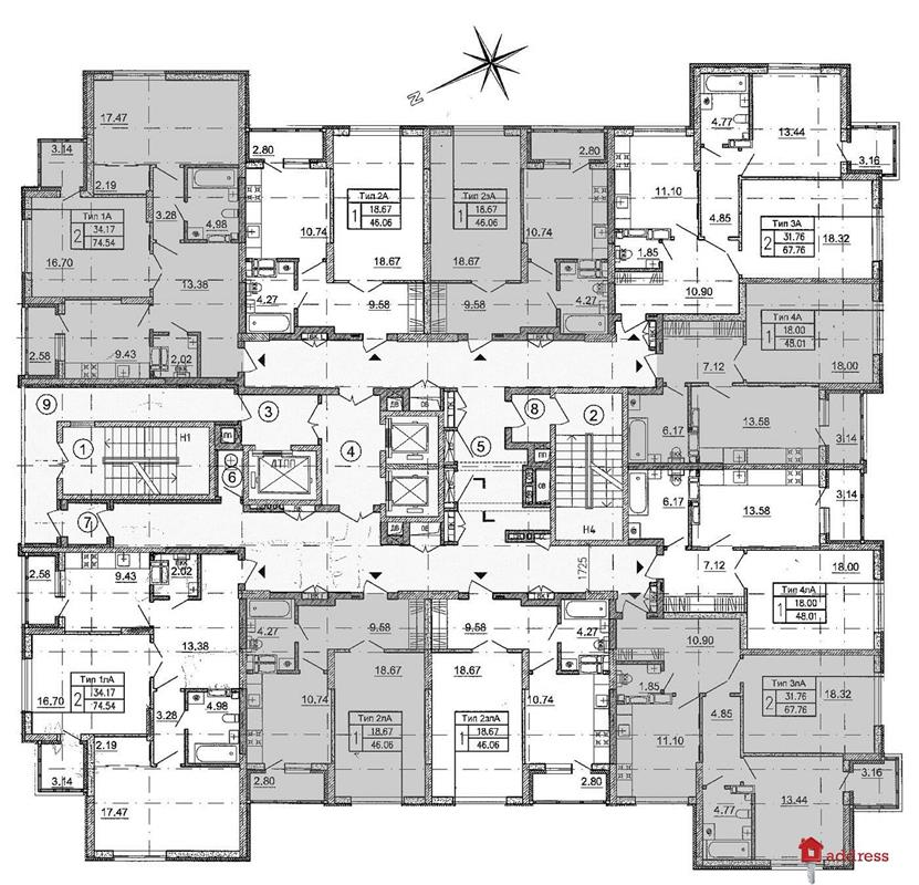 ЖК Краковская 27А (дом 2): Поэтажный план