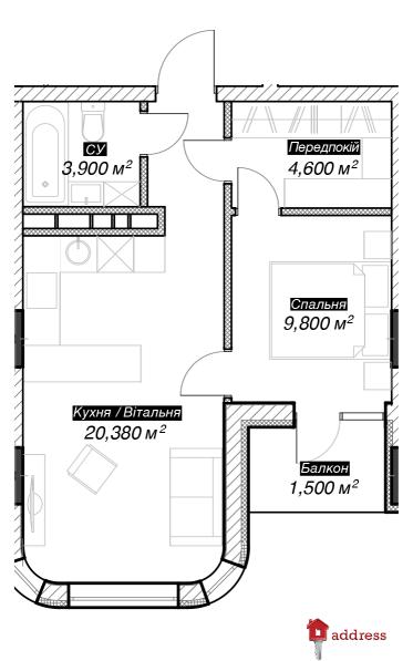 ЖК 044: 1 комнатна