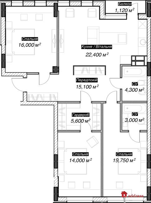 ЖК 044: 3х комнатна