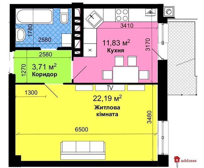 Жилой 7-8-9 этажный дом: Однокомнатные