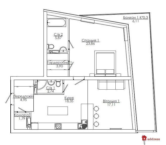 Art Kvartal City Space: 2 комнатные