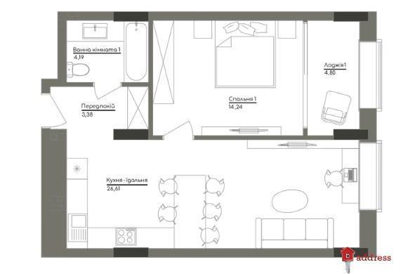 ЖК Washington Concept House: 1-комнатные