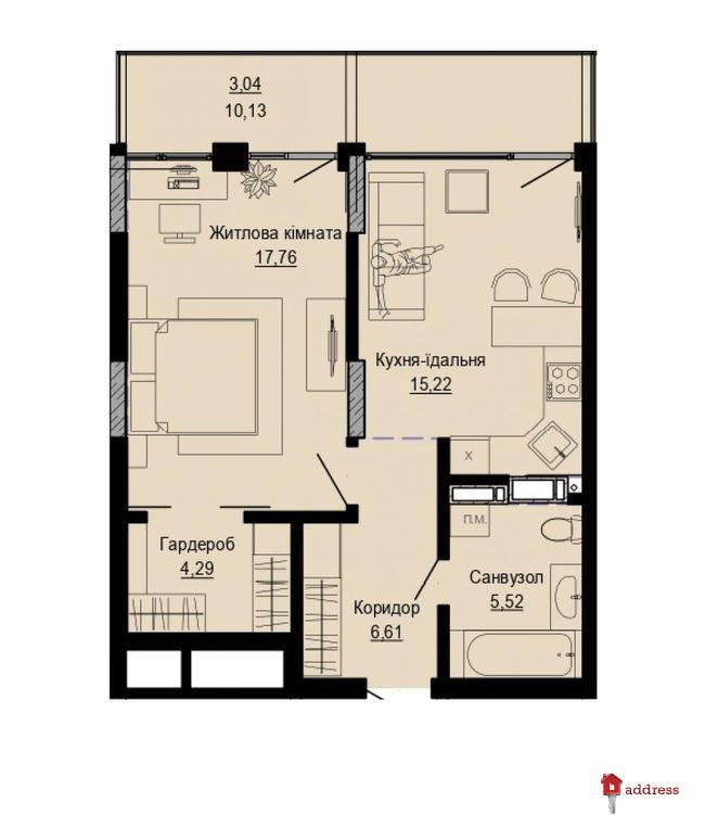 ЖК PUSHA HOUSE: 1-комнатные