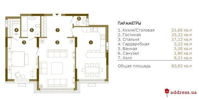 Obolon Residences: Двухкомнатные