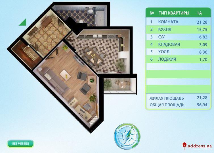 ЖК Паркова вежа: Однокомнатные