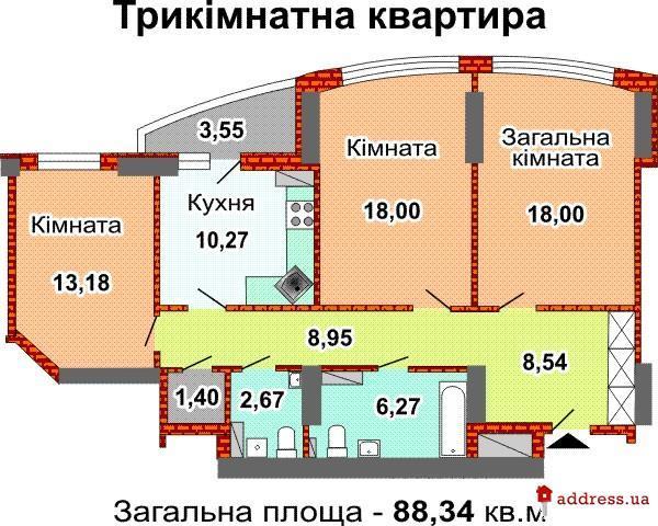 ЖД ул. Ревуцкого, 7В: Трехкомнатные