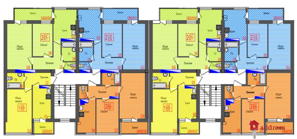 ЖК Дом на Бестужева: Планировка типового этажа