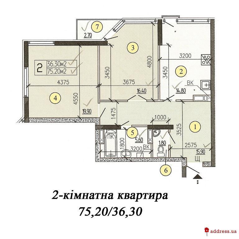 ЖД ул. Верховинная39-41: Двухкомнатные